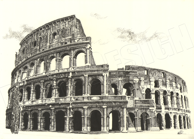 Colosseum - Hand drawn A2