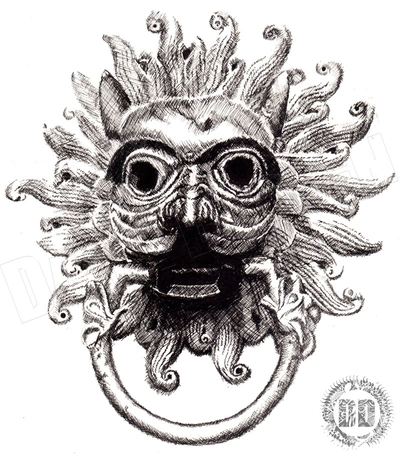 Durham Cathedral - Door Knocker detailed Sketch using cross hatching
