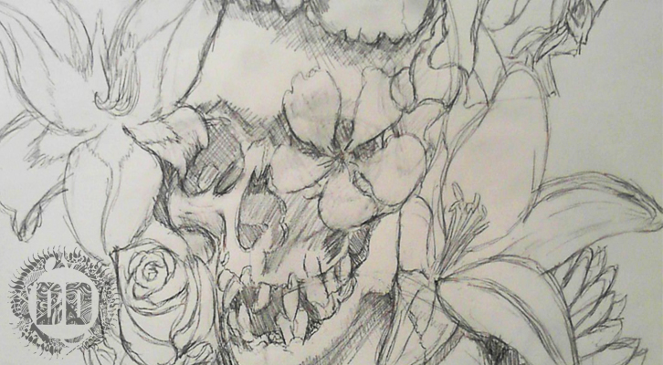 Skulls And Flowers How We Design A Tattoo Concept Sketch from Dark Design Graphics