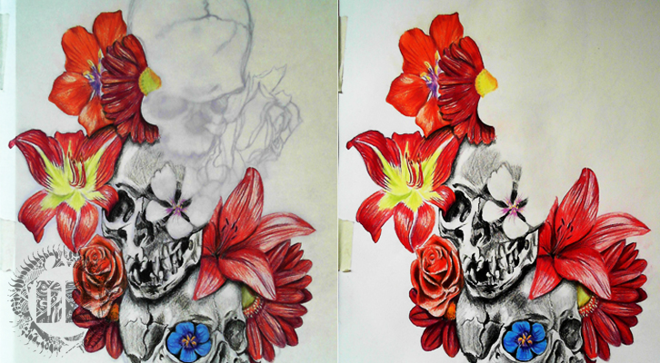 skulls and flowers how we design a tattoo dark design graphics graphic design newcastle. Black Bedroom Furniture Sets. Home Design Ideas