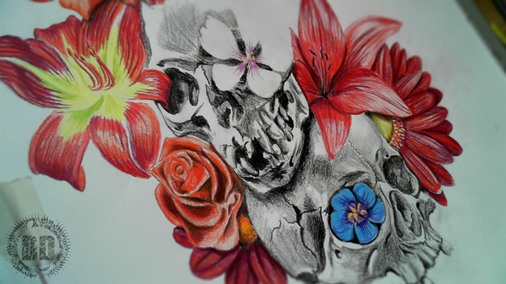 Skulls And Flowers How We Design A Tattoo Progress from Dark Design Graphics