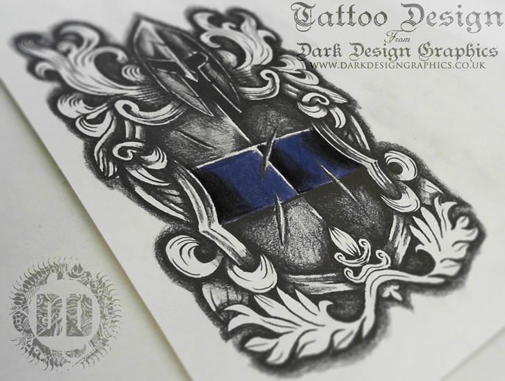 Warrior Shield Crest Tattoo Design from Dark Design Graphics