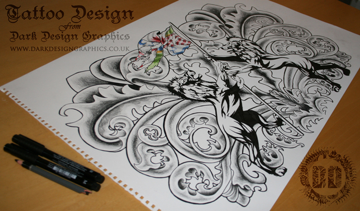 Flag And Two Lions Coat Of Arms Tattoo Design from Dark Design Graphics