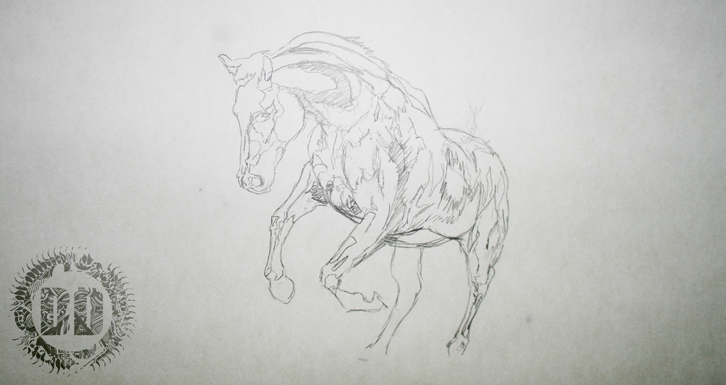 Horse Sketch Saint George Tattoo Design from Dark Design Graphics