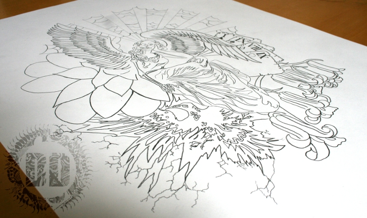 Skeleton Angel Tattoo Design Outline Layer