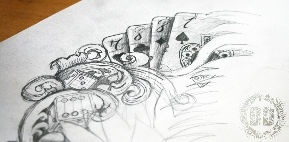 Playing Cards Gambling Tattoo Design from Dark Design Graphics