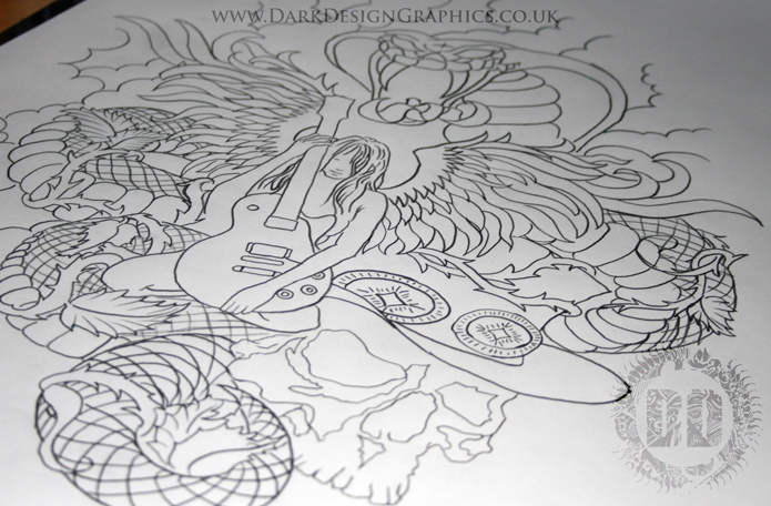 Angel and Snake Tattoo Idea Stencil from Dark Design Graphics