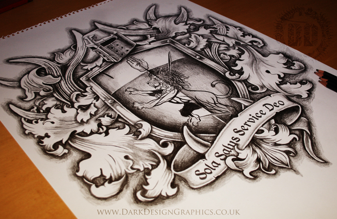Family coat of arms tattoo design dark design graphics for Full custom tattoo