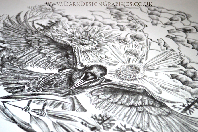 Raven and flowers Tattoo Design