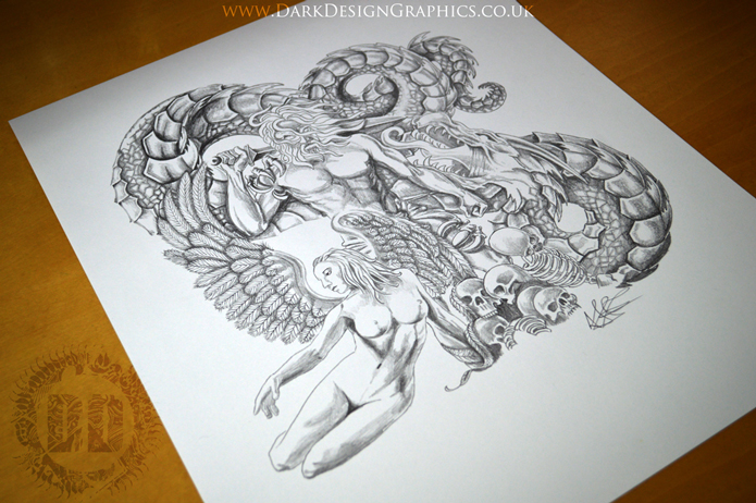 Angel and Weary Warrior Dragon Tattoo Design