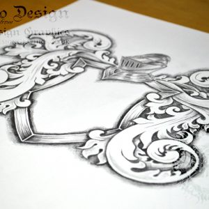 Coat-of-Arms-Tattoo-Template-Drawing