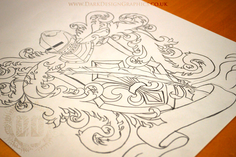 Family Coat of Arms Tattoo Stencil