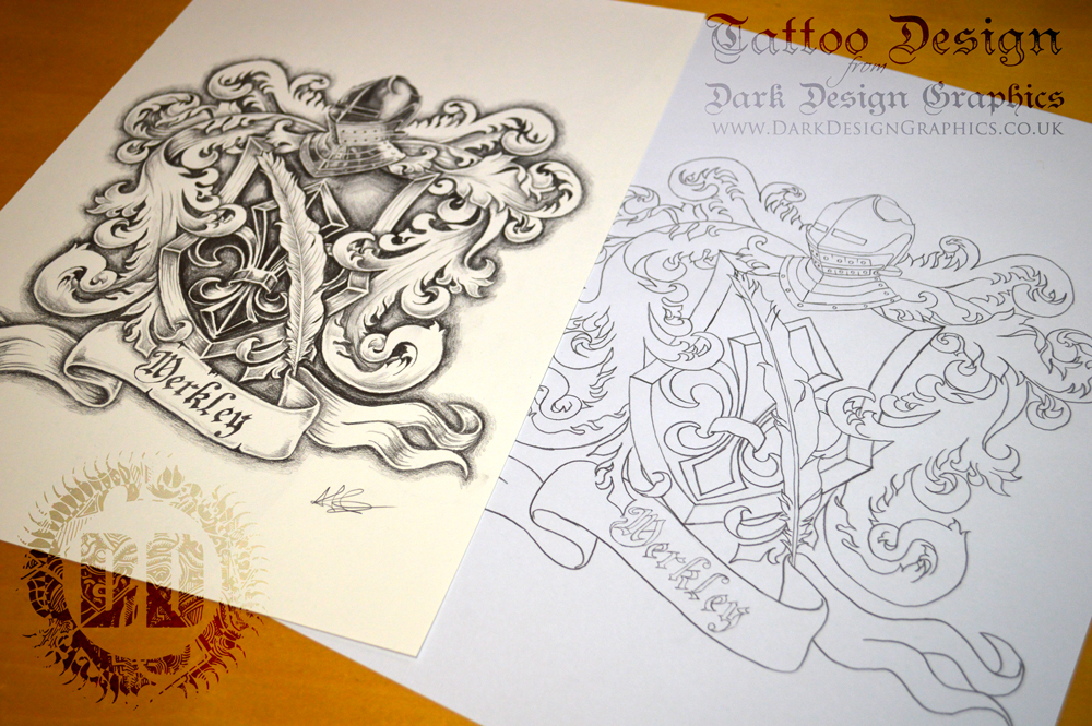 Merkley Coat of Arms Tattoo Design and Stencil from Dark Design Graphics