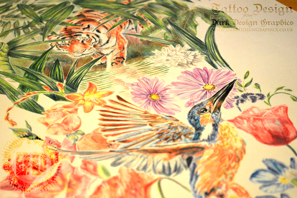 Full Sleeve Full Colour Nature Tattoo Design from Dark Design Graphics