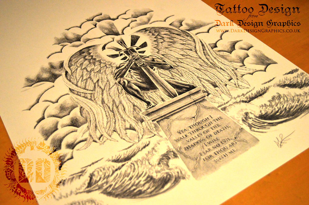 Guardian Angel Custom Tattoo Design from Dark Design Graphics