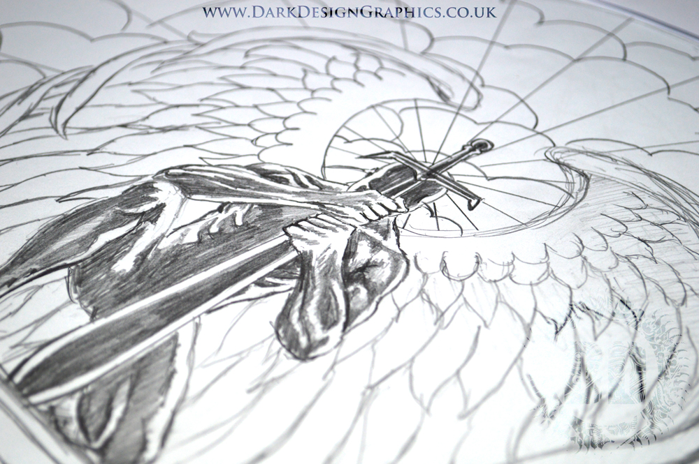 Kneeling Angel Tattoo Concept from Dark Design Graphics