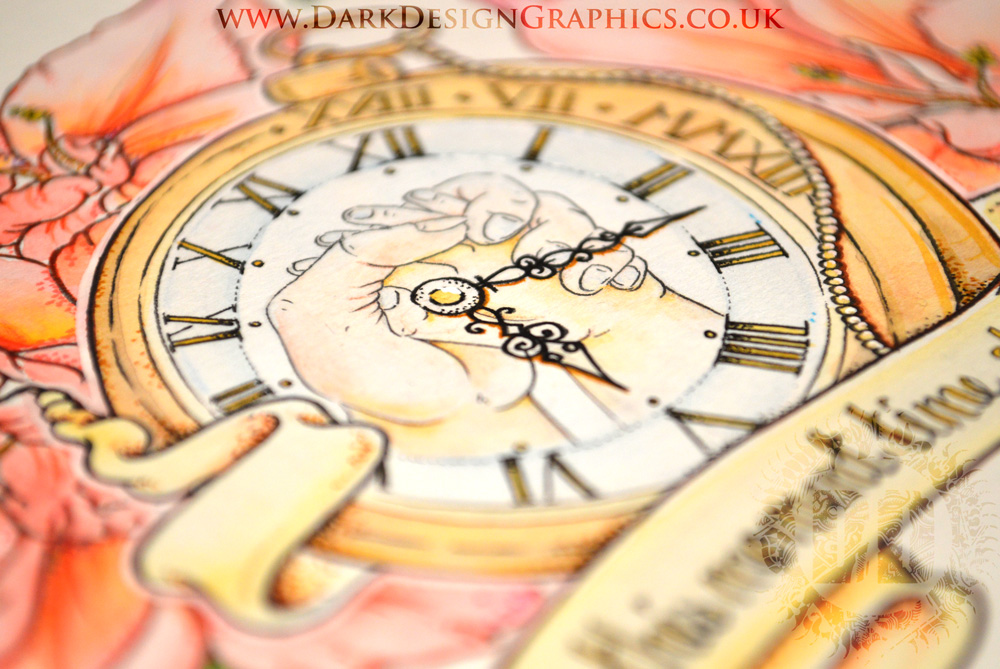 Pocket Watch and Hands Tattoo Design from Dark Design Graphics