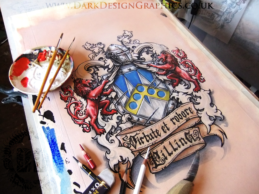 Rampant Lion Colour Coat of Arms from Dark Design Graphics