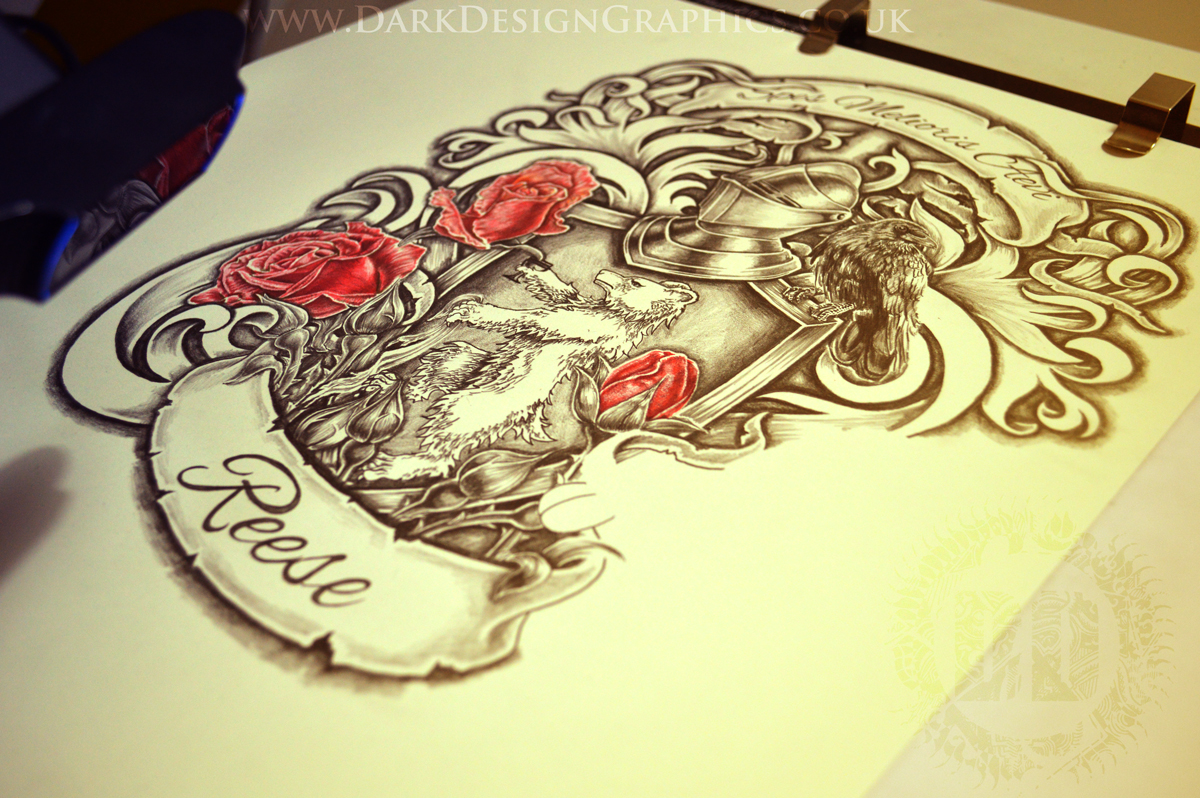 Personalized Coat of Arms in progress from Dark Design Graphics