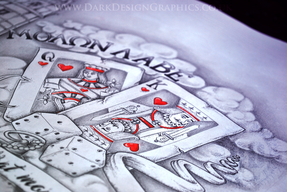 Half Sleeve Custom Tattoo Design including amazing Dotwork detailing continuously onto King and Queen of hearts Card and Dice brought to you from Dark Design Graphics