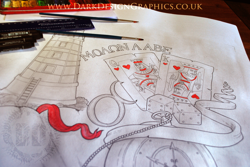 Half Sleeve Dotwork Tattoo Design Work In Progress Featuring a Lighthouse and Pocket Watch from Dark Design Graphics