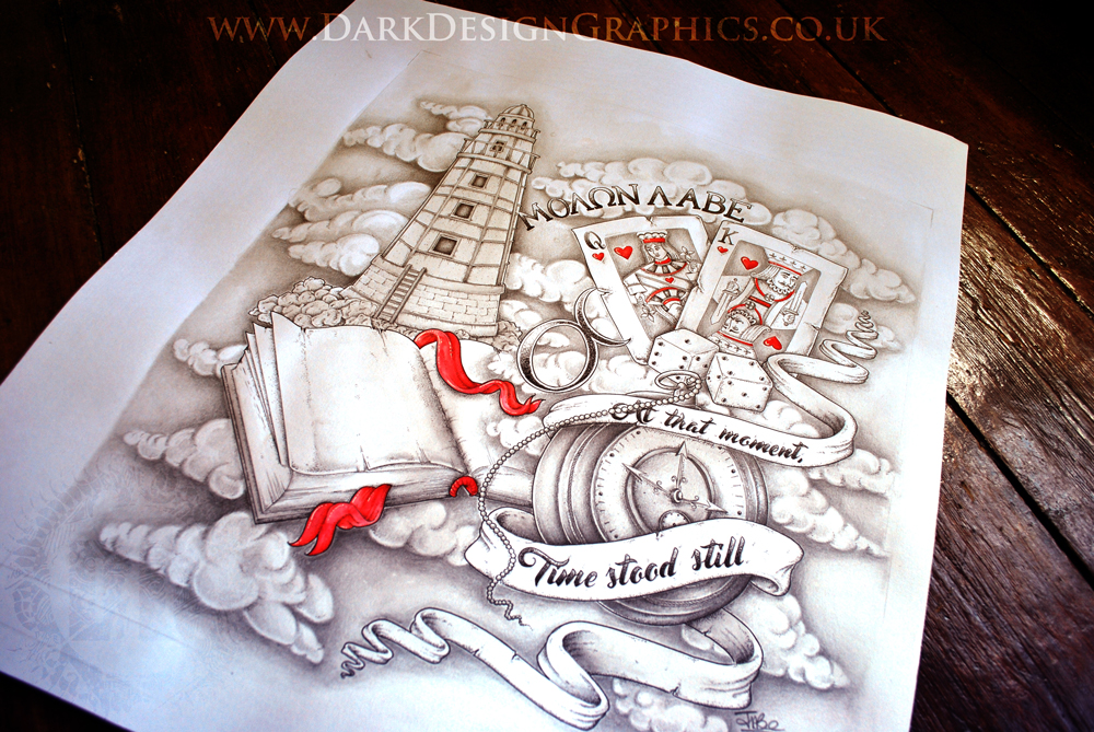 Tattoo Design Half Sleeve Final Image Dotwork drawing complete with Lighthouse Book Pocket Watch Cards and Dice from Dark Design Graphics