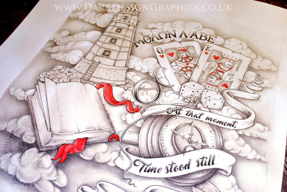 Half Sleeve Tattoo Design Final Image of Dotwork drawing complete with Lighthouse Book Pocket Watch Cards and Dice from Dark Design Graphics