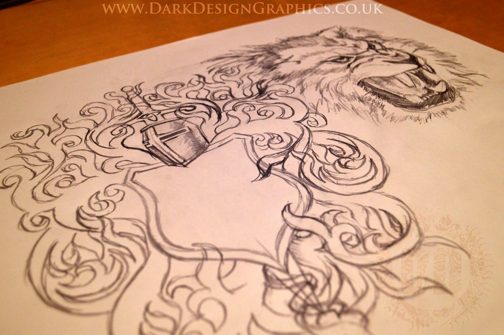 Lion & Shield half sleeve and chest Tattoo Design Concept