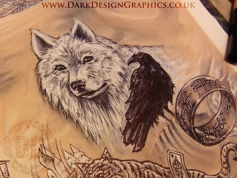 Game of Thrones tattoo design wolf and crow