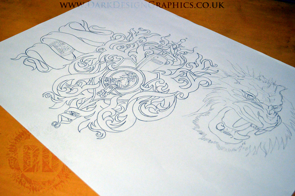 Tattoo Stencil Lion Coat of Arms from Dark Design Graphics