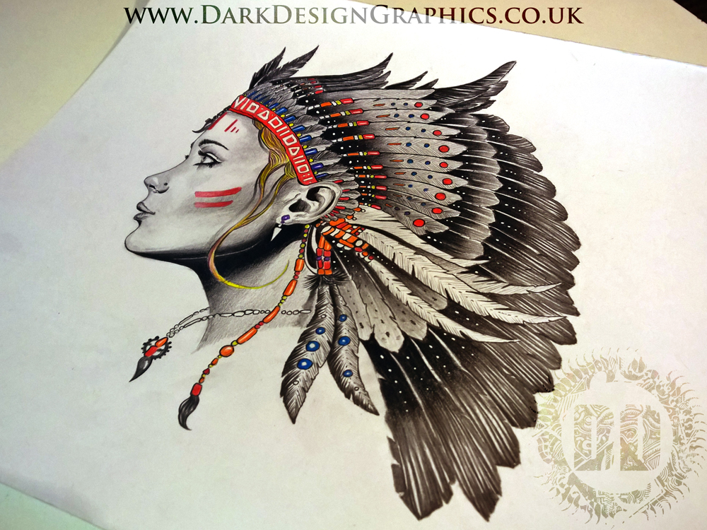 Woman with a Native Indian headdress tattoo design