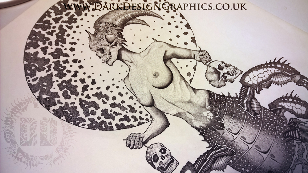 illustration from Dark Design Graphics woman with skull heads