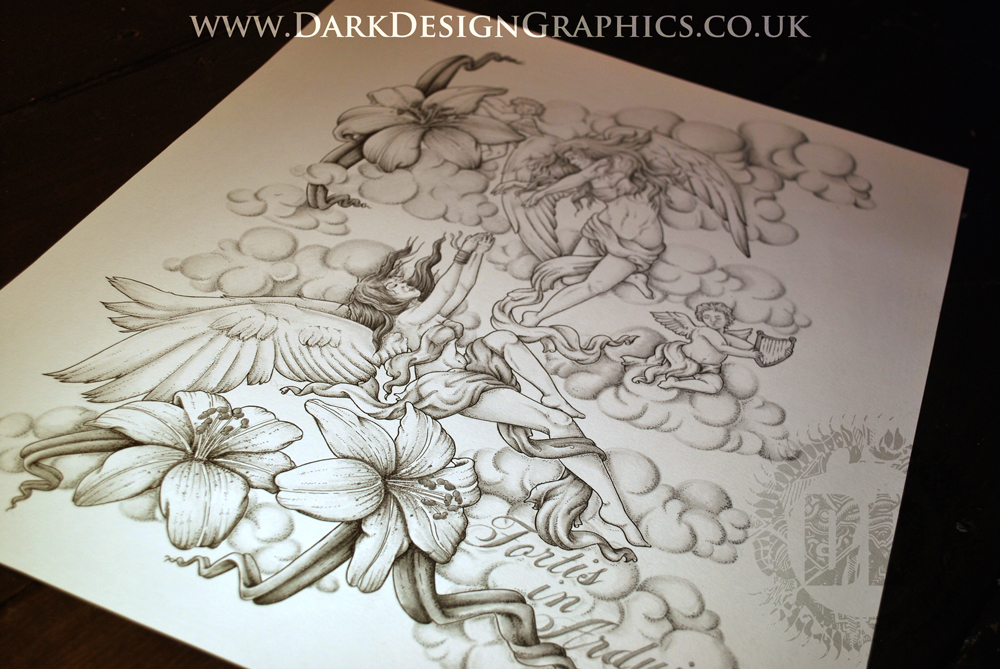 Full Back Tattoo Design of Angels & lilies