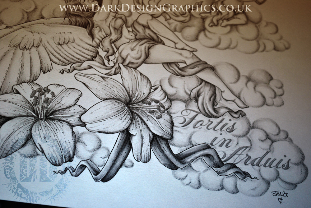 Lilies and angels tattoo design