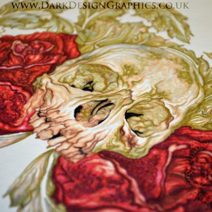 Close up of a Skull & Roses Tattoo Design Download
