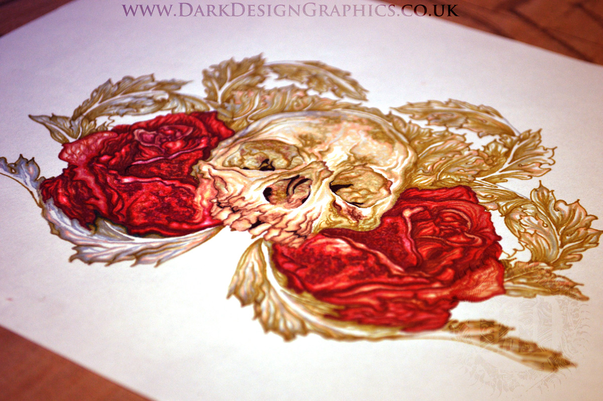 Skull and Roses Tattoo Design Download