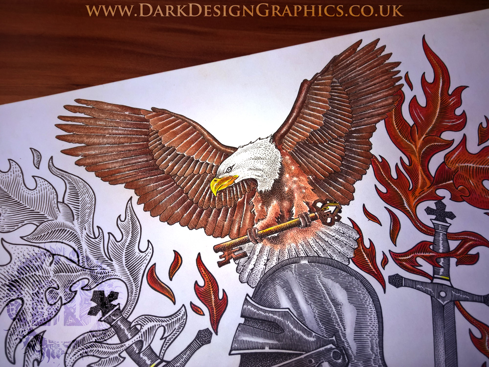 Pointillism Style Eagle Full Colour Coat of Arms
