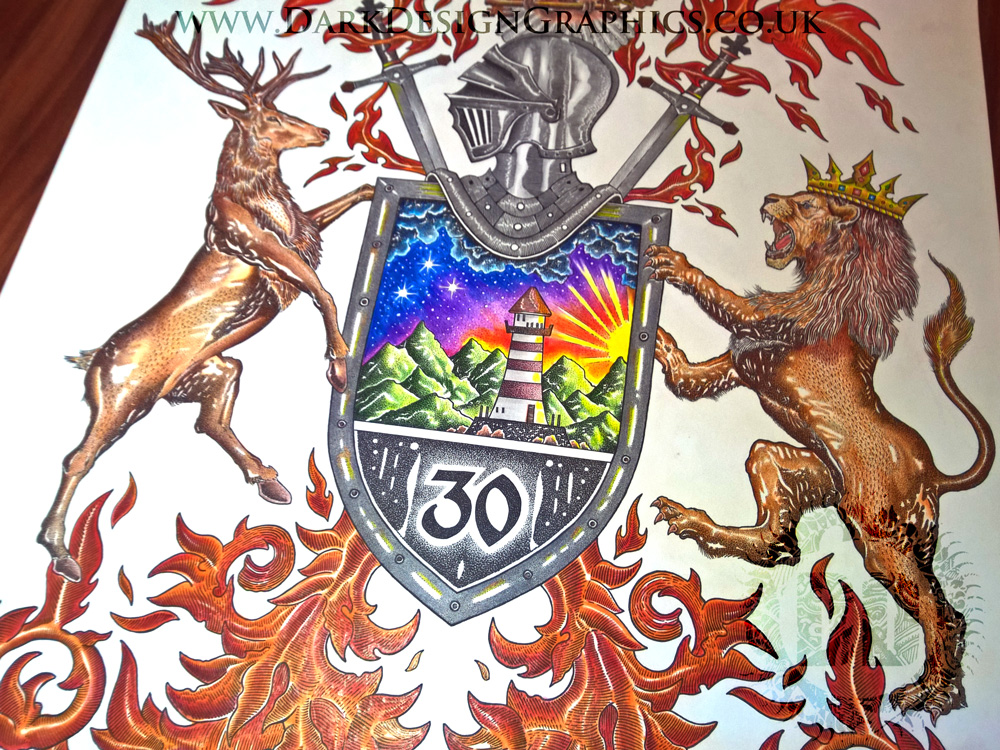 Pointillism Style Full Colour Custom Coat of Arms
