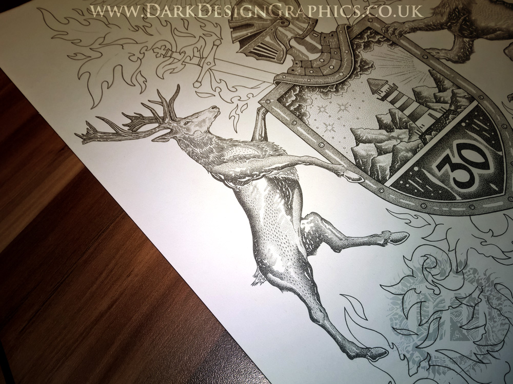 Pointillism Stag Coat of Arms