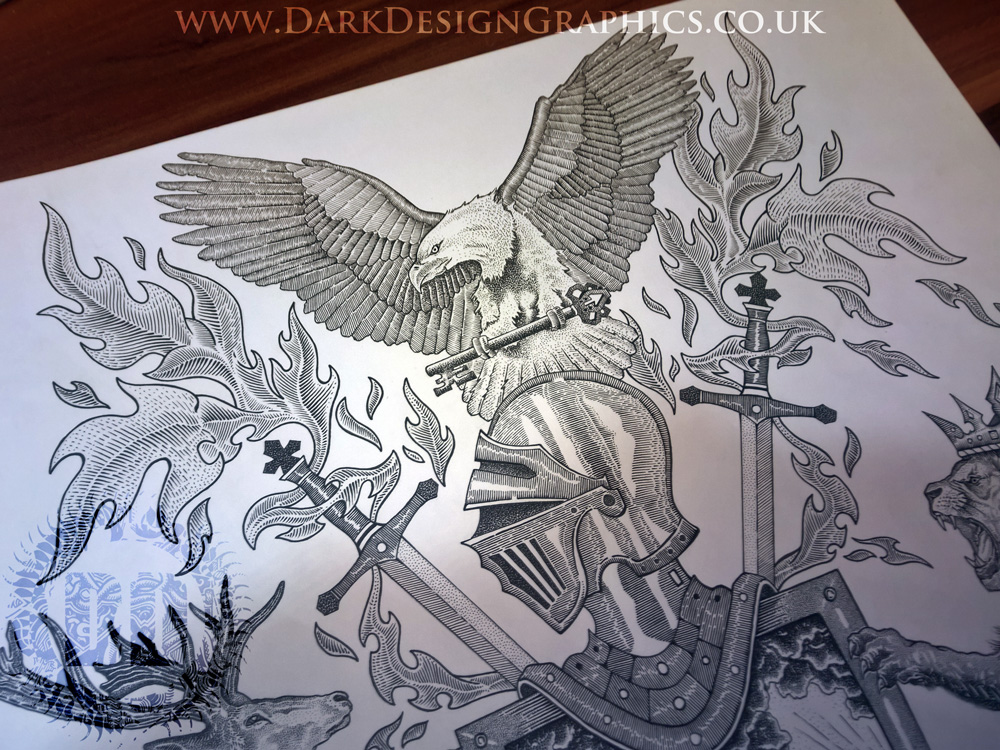 Pointillism Style Eagle Coat of Arms