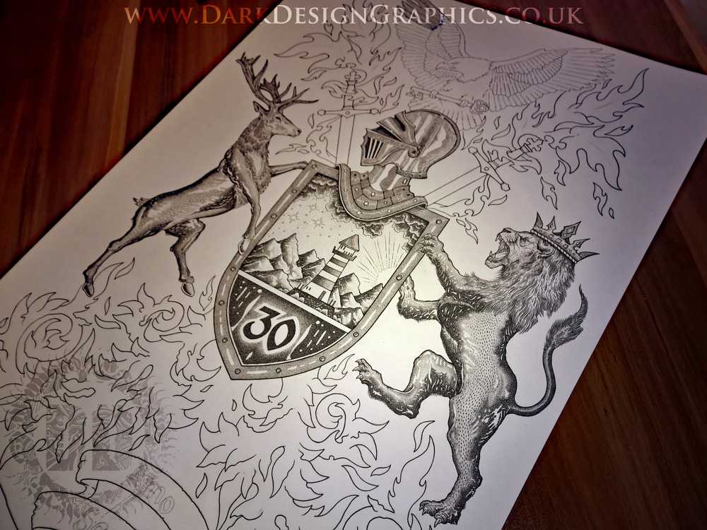Pointillism Style Lion Coat of Arms