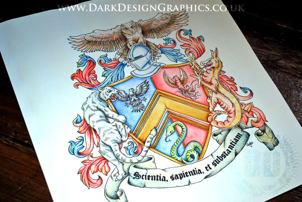 Final Full Image of a Hand-drawn Coat of Arms from Dark Design Graphics