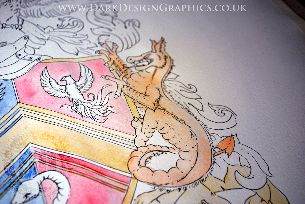 Hand-drawn Coat of Arms featuring a Vietnamese Dragon
