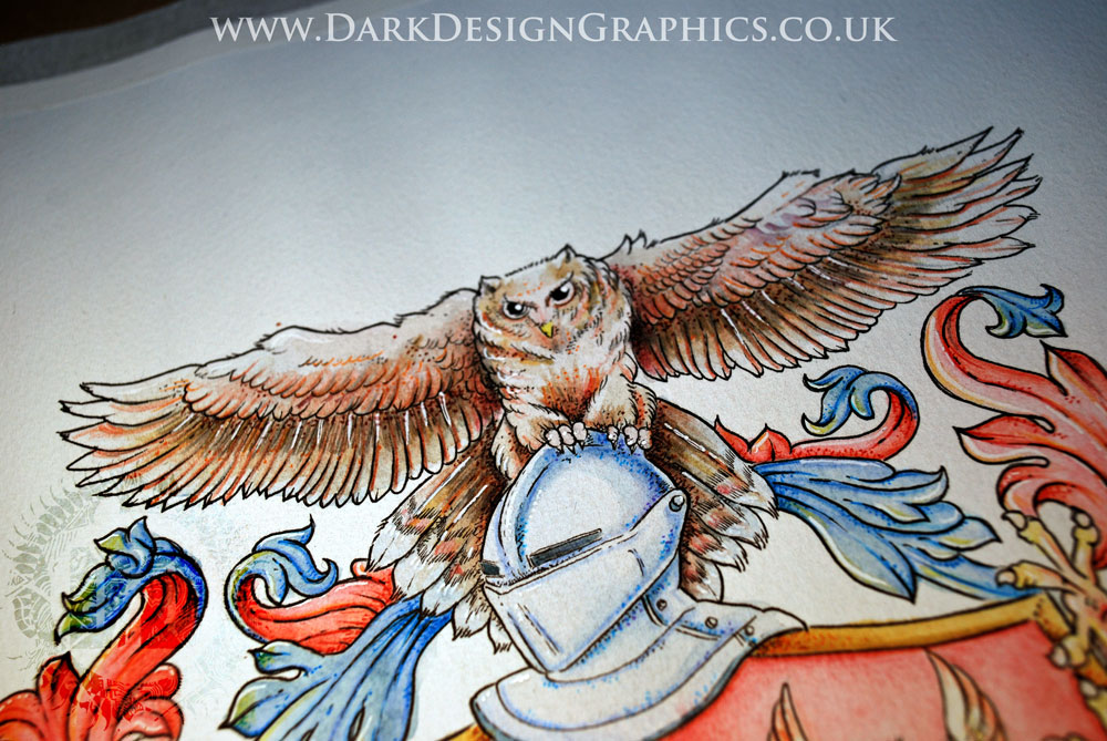 Owl Coat of Arms Hand-drawn by Dark Design Graphics