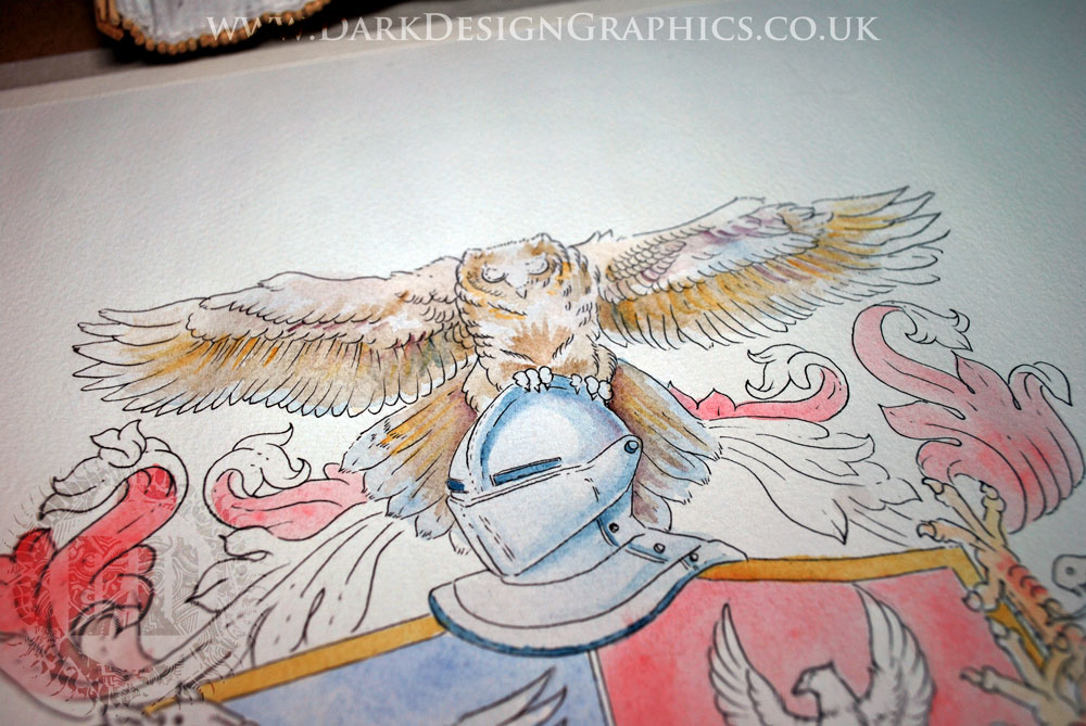 Owl's in Hand-drawn Coat of Arms from Dark Design Graphics