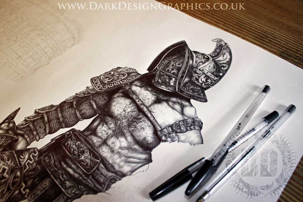 roman gladiator tattoo design dark design graphics. Black Bedroom Furniture Sets. Home Design Ideas